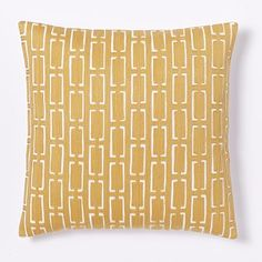 Mid Century Crewel Bracket Geo Pillow Cover - Horseradish #westelm
