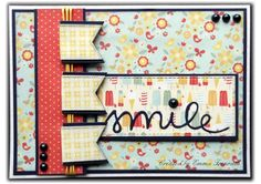 Fun summer card, MME On The Sunny Side papers, sizzix smile die, fishtail die