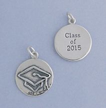 """""""Oxidized Sterling Silver Charm, CLASS OF 2015, Mortarboard on Reverse, 5/8 inch"""""""