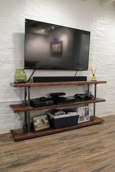 Simple DIY Industrial media console with gas pipes