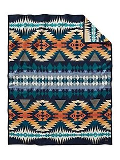 A made-in-America wool blanket in a dazzling geo pattern. Dynamic zigzags evoke the rhythm of the Stomp Dance, a Native American ceremony that begins at dusk and continues through dawn. Reverses to pattern's opposite. Pendleton Wool Blanket, Pendleton Woolen Mills, Camping Blanket, Native American Design, Night, Throw Blankets, Crochet Blankets, Beds, Southwestern Bedding