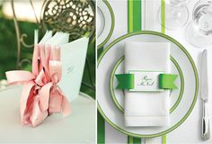 Clever use of ribbons to add color and dimension to a tablescape. {Wedding Trends} : Ribbon Galore- 15 new and classic forms - Belle the Magazine . The Wedding Blog For The Sophisticated Bride