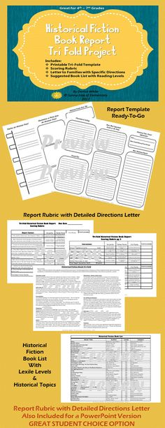Tri-Fold style historical book report for 4th - 7th Grades!