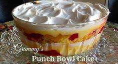 Make 2 layers yellow cake cherry pie filling 21 oz cans) instant vanilla pudding mix boxes), prepared with milk cool whip (large tub) (can substitute with whipping cream) nuts (optional) Chill overnight! layer ~Crumble 1 layer of cake Köstliche Desserts, Summer Desserts, Delicious Desserts, Layered Desserts, Pudding Desserts, Summer Recipes, Yummy Food, Banana Bread Recipes, Cake Recipes