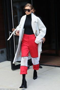 Statement pants: On Monday Gigi Hadid was spotted wearing a pair of red trousers that were the centerpiece of her outfit