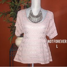 Not Forever Purple Lace Top Dolman Sleeve Large Has some wear small amount of pilling and  a small hole under arm Not Forever Purple Lace Top Dolman Sleeve Large Not Forever Tops Blouses