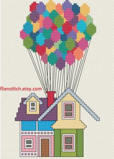 Pixar& Up House with Balloons Cross Stitch PDF Digital Dragon Cross Stitch, Small Cross Stitch, Cross Stitch Letters, Cross Stitch Bookmarks, Cross Stitch Needles, Cross Stitch Designs, Disney Cross Stitch Kits, Disney Stich, Up House With Balloons