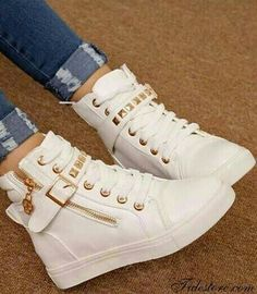 shoes hipster gym sneakers gold white girly nice hip pants white shoes gold  studs studded cute white sneakers gold studs trainers me find pretty white  ... ee6db1438