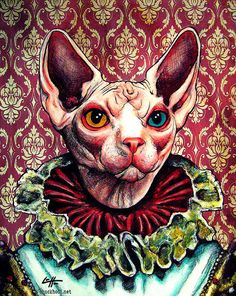Print 11x14 Royal Cat Queen Animal Kitty Kitties by chuckhodi