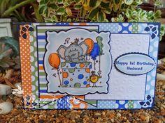 Calligraphy Cards - Shaz in Oz: Bugaboo Edward Elephant Present First Birthday card + WOYWW