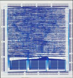 "Hewlett-Packard Company | diagram: central processing unit chip: microprocessor | computer-generated plot on paper | 36"" x 33-3/4"" 