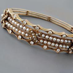 Antique Victorian Diamond and Seed Pearl Bangle Bracelet
