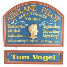 Airplane Pilot Wood Sign with Optional Nameboard