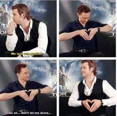 Chris Hemsworth and Tom Hiddleston... omg they're so cute. Lol