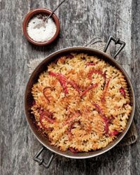 Fusilli with Three Cheeses and Red Bell Pepper: Macaroni and cheese goes upscale with fontina, mozzarella, and Parmesan Wine Recipes, Pasta Recipes, Cooking Recipes, Thai Recipes, Yummy Recipes, Yummy Food, Fusilli, Cheese Ingredients, Pasta Dishes