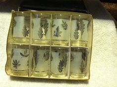 Hostess Glassware by Libbey Silver Foliage Glasses Set of 8 1950-1960