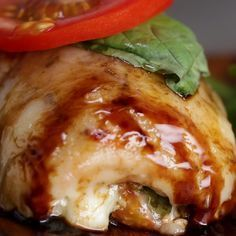 Eat Stop Eat To Loss Weight - Caprese Chicken Rollups - In Just One Day This Simple Strategy Frees You From Complicated Diet Rules - And Eliminates Rebound Weight Gain I Love Food, Good Food, Yummy Food, Tasty Videos, Food Videos, Caprese Chicken, Mozzarella Chicken, Cooking Recipes, Healthy Recipes