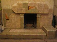 Original 1930's Art Deco ceramic tiled fireplace surround | eBay