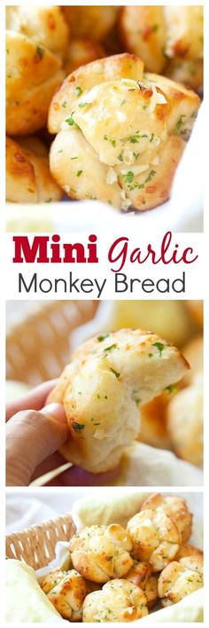Mini garlic monkey bread – best and easiest monkey bread takes 20 mins! Use Pi. Mini garlic monkey bread – best and easiest monkey bread takes 20 mins! Use Pillsbury biscuits do Think Food, I Love Food, Good Food, Yummy Food, Garlic Monkey Bread, Garlic Bread, Monkey Bread Easy, Garlic Rolls, Fingers Food