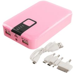 12000mAh USB External Battery Power Bank Pack Charger Cable With Light - Hot Pink :: CellPhoneCases.com