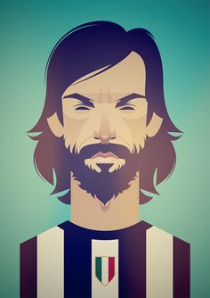 Andrea Pirlo and beard - an illustration by Stanley Chow Andrea Pirlo, Football Design, Football Soccer, Retro Football, Stanley Chow, Web Design, Flat Design, Graphic Design, Soccer Art