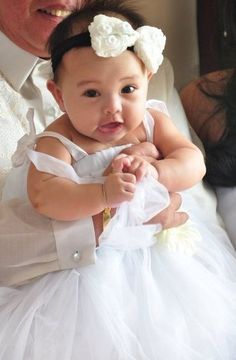 #baptismal #dress #allwhite #rosette #headband #tulle #balloon #skirt  #christening #outfit #dedication #gown #baby #girl #from #cuddly #babies