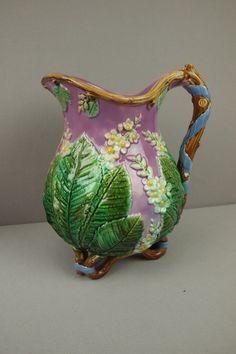 GEORGE JONES rare majolica chestnut pitcher