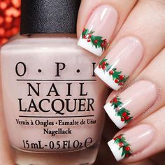 Previous Post Next Post kerstnagels Chrismas Holly Garland French Nails: Previous Post Next Post Nail Art Noel, Xmas Nail Art, Holiday Nail Art, Xmas Nails, Christmas Nails, Christmas 2015, Green Christmas, Winter Holiday, Nail Lacquer