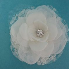 Bridal Hair Flower  Ivory Lace Organza and Tulle by HARTfeltart, $33.00