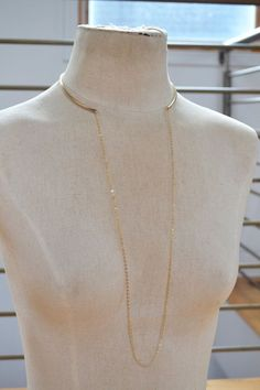 Gold Metal Choker with Long Chain, Gold Collar, Open Choker Necklace, Chain Collar Necklace