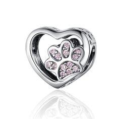 WOSTU 925 Sterling Silver Kitty Cat Bead Pussy Footprint Zirconia Charms Fit Original Bracelet Pendant DIY Silver 925 Jewelry - CQC1191