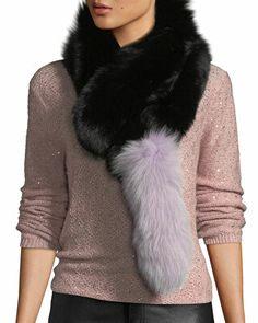 16601569349 Charlotte Simone Designer Popsicle Fur Pull-Through Scarf Charlotte Simone