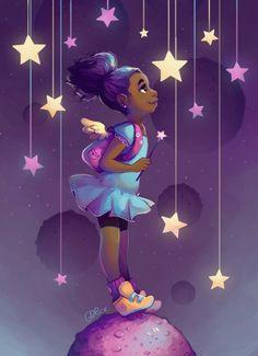 It's so easy to get lost in her whimsy. Meet The Artist Who's Serving Up Lisa Frank Realness Black Love Art, Black Girl Art, Art Girl, Cartoon Kunst, Cartoon Art, Arte Gcse, Arte Black, Black Art Pictures, Black Artwork