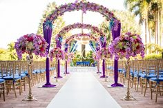 Suhaag Garden, wedding decorators, wedding decor, Florida California Atlanta wedding vendors, Indian wedding decorators, outdoors wedding, outdoors mandap, wedding aisle, wedding archways, candelabras, Palmetto Bay Village Center, floral archways, round mandap
