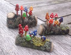 Very cute tiny handmade toadstools mounted on one real piece of wood. Very detailed in different colours. Looks great as part of a fairy garden or just hidden in a magical place in the garden or even on a windowsill or window box or plant pot. One log contains 5 miniature