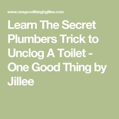 Learn The Secret Plumbers Trick to Unclog A Toilet - One Good Thing by Jillee