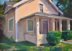 "Daily+Paintworks+-+""Peachy+House""+-+Original+Fine+Art+for+Sale+-+©+Carol+Marine"