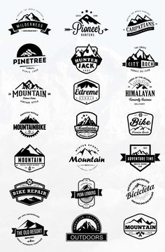 This bundle includes all of my mountain related sets! It contains a mix of vintage badges, logos and mountain shapes. So if you are looking for an elegant logo, Vintage Logo Design, Retro Design, Web Design, Graphic Design, T Shirt Logo Design, Logo Vintage, Outdoor Logos, Logos Retro, Mountain Logos