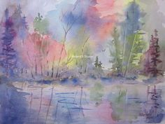 Print of Original Watercolor Painting, autumn landscape, fall landscape, fall trees, nature art, fall scene, Autumn Color.
