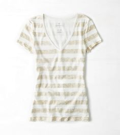 White with gold shimmery striped t-shirt, american eagle outfitters. College Girl Fashion, College Girls, Womens Clearance, American Eagle Men, Mens Outfitters, Black Tie, Lounge Wear, American Eagle Outfitters, Short Sleeve Dresses