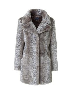 Beige Faux Fur Animal Print Fly Collar 3/4 Length Coat