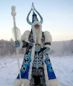 Sakha (Yakut) Republic, NE Siberia Chysh Khan (Kış Han) - The Bull Ox/King of Frost/Winter - comes out of the Arctic Ocean in autumn & breaths out the cold of winter. He resides in Oimyakon and the Permafrost Empire in Yakutsk. Annually the Siberian Dede Moroz gets the symbol of the Cold from him and begins a pre-new year journey. In spring on 1st St. Athanasius day (~March 7) Chysh Khan loses 1 horn & on Spring equinox sheds 2nd horn. By ice break his carcass is carried back to the Arctic…