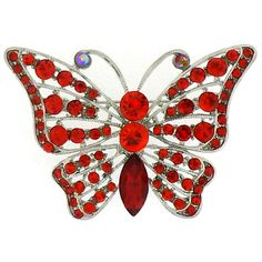 Silver  &  Siam Red Crystal Butterfly brooch