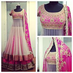 Pink & White Embroidered #Anarkali #Lehenga.