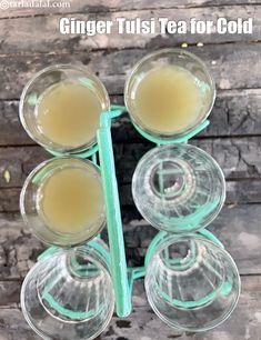 homemade herbal tea recipe | fresh herbal tea | ginger tulsi tea for cold | Tulsi Tea, Tea For Colds, Indian Drinks, Ginger Drink, Ginger And Honey, Basil Leaves, Cold Meals, Herbal Tea, Tea Recipes