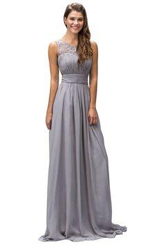 Long Bridesmaids Formal Dress Body Conscious Fit Corset Back - The Dress Outlet - 1