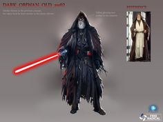 """Concept art of a Sith Obi-Wan Kenobi. Apparently, he was going to be a playable character in a scrapped version of """"Battlefront 3""""."""