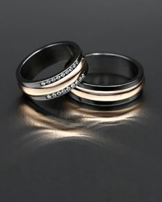 Zirconium, red gold and diamonds. Handmade Rings, Black Rings, Unique Rings, Perfect Match, Red Gold, Diamond Rings, Rings For Men, Diamonds, Wedding Rings