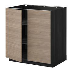 METOD Élément bas tablette/2portes - effet bois noir, Brokhult motif noyer gris clair, 80x60 cm - IKEA