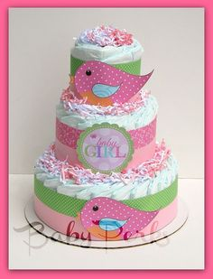 http://@Stephanie Noftz....this is cute, it matches the party stuff....Tweet Baby Girl Baby Shower, Bird Diaper Cake , Baby Shower Decorations , Nesting Baby Shower via Etsy